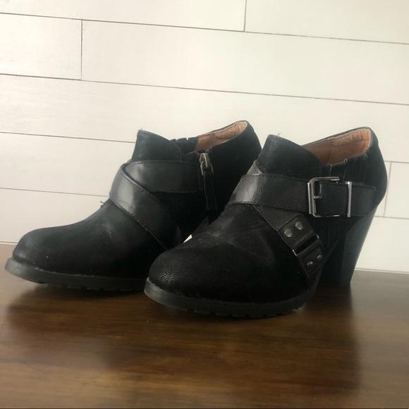 Gently used Crown Vintage black leather booties